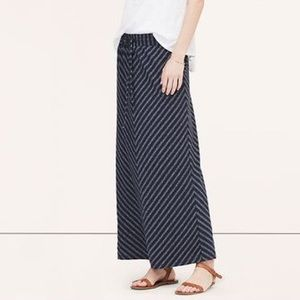 LOFT Blue Chevron Maxi Skirt Size XS